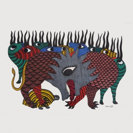 Tiger and Deers Gond Art | Painting by artist De Kulture Works | other | Handmade Paper