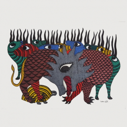 Traditional Indian art title Tiger and Deers Gond Art on Paper - Gond Paintings