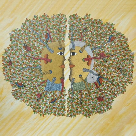 Traditional Indian art title Conversation Gond Art on Canvas - Gond Paintings