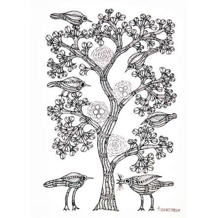 Traditional Indian art title Tree With Birds Gond Art on Paper - Gond Paintings