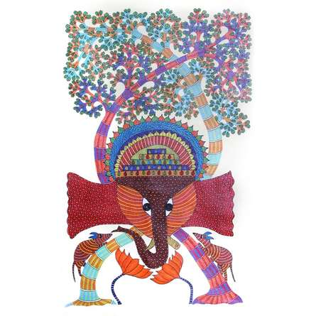 Traditional Indian art title Ganesha Gond Art on Paper - Gond Paintings