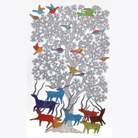 Traditional Indian art title Forest Scene Gond Art on Paper - Gond Paintings