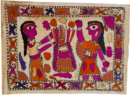 Traditional Indian art title Play In The Summer Madhubani Art on Handmade Paper - Madhubani Paintings