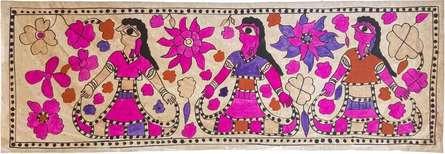 Yamuna Devi | Madhubani Traditional art title The Malin Sisters Madhubani Art on Handmade Paper | Artist Yamuna Devi Gallery | ArtZolo.com