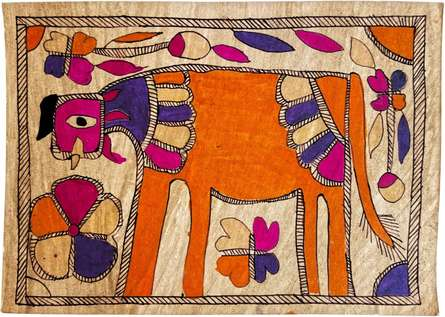Traditional Indian art title Cow in The Meadow Madhubani Art on Handmade Paper - Madhubani Paintings