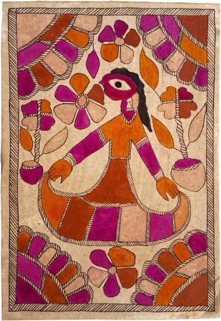 Traditional Indian art title The Dancing Maiden Madhubani Art on Handmade Paper - Madhubani Paintings