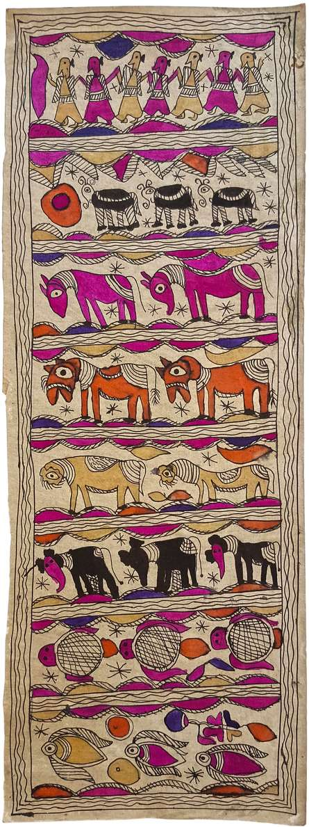 Traditional Indian art title Animal Congregation Madhubani Art on Handmade Paper - Madhubani Paintings