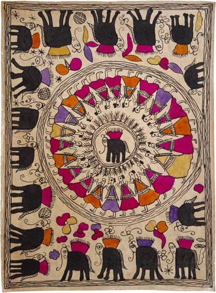Traditional Indian art title The Magnificent Cavalcade Madhubani Art on Handmade Paper - Madhubani Paintings