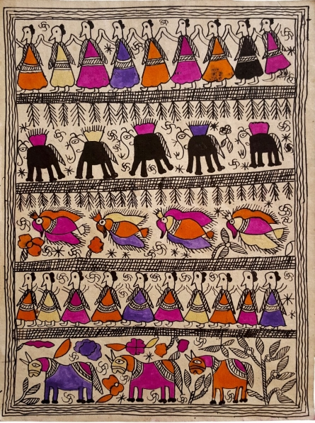 Traditional Indian art title Running Free Madhubani Art on Handmade Paper - Madhubani Paintings