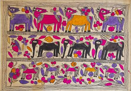 Traditional Indian art title Deer Friends Madhubani Art on Handmade Paper - Madhubani Paintings