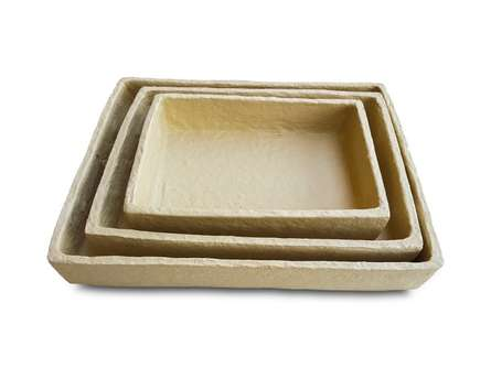 Paper Mache Tray (Set of 3) | Craft by artist De Kulture Works | Paper