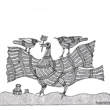 Traditional Indian art title Bird with Trident Gond Art on Paper - Gond Paintings