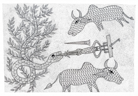 Traditional Indian art title A Farmers Bind Gond Art on Paper - Gond Paintings