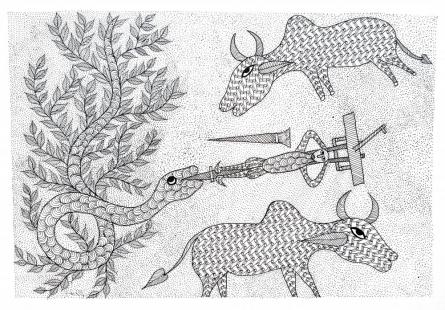 Umaid Singh Patta | Gond Traditional art title A Farmers Bind Gond Art on Paper | Artist Umaid Singh Patta Gallery | ArtZolo.com