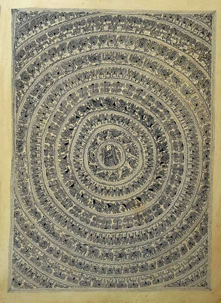 Traditional Indian art title A Royal Cavalcade on Handmade Paper - Madhubani Paintings