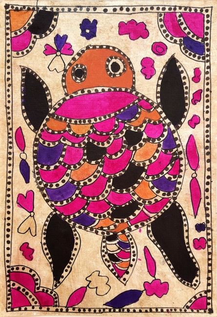 Traditional Indian art title A Sacred Turtle on Handmade Paper - Madhubani Paintings