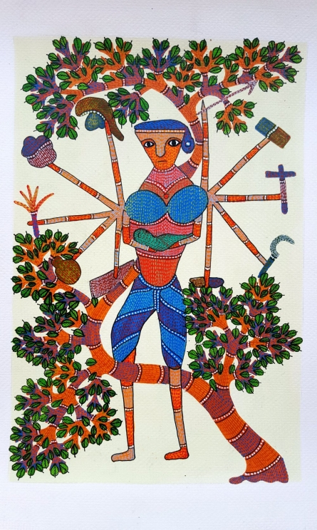 Suresh Kumar Dhurve | Gond Traditional art title A Woman Can Do Anything Gond Art on Paper | Artist Suresh Kumar Dhurve Gallery | ArtZolo.com