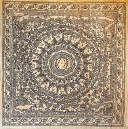 Traditional Indian art title Anant Ganesha Yantra Absolute Ganesha Y on Handmade Paper - Madhubani Paintings