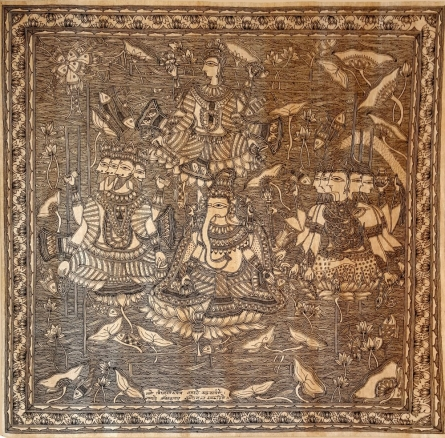 Traditional Indian art title Anant Roop Ganesha Cosmic Ganesha on Handmade Paper - Madhubani Paintings