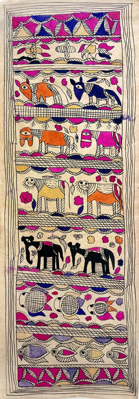 Traditional Indian art title Assembly Of Animals on Handmade Paper - Madhubani Paintings