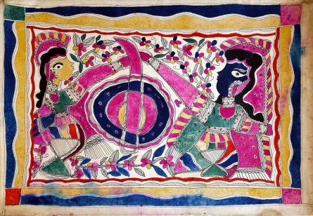 Traditional Indian art title At The Mill Stone on Handmade Paper - Madhubani Paintings