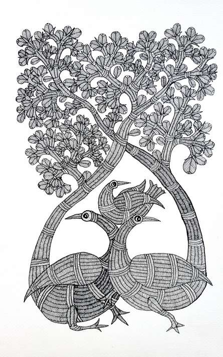 Traditional Indian art title Bird Family Under The Sal Tree Gond Art on Paper - Gond Paintings