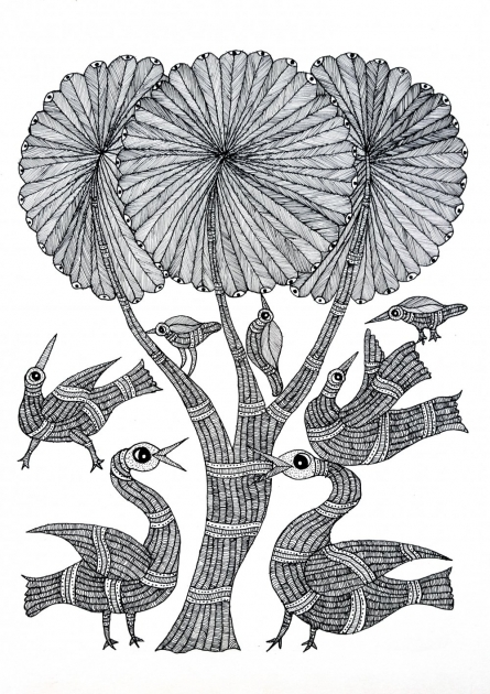 Traditional Indian art title Birds Of The Coconut Palm Gond Art on Paper - Gond Paintings