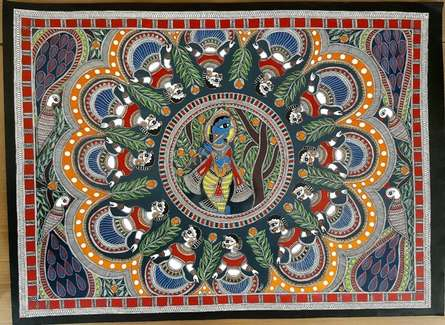 Folk Art Tribal Art Painting title 'Brindavan Raas Of Krishna Madhubani Art' by artist De Kulture Works