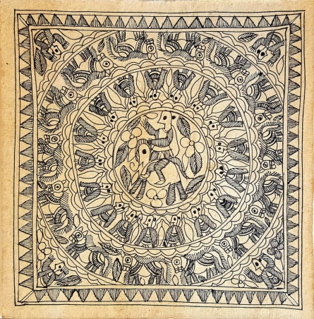 Traditional Indian art title Budheshwar Of Mahisauth on Handmade Paper - Madhubani Paintings