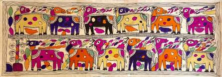Traditional Indian art title Camels In The Hot Sun on Handmade Paper - Madhubani Paintings