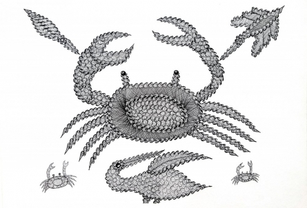 Umaid Singh Patta | Gond Traditional art title Crabs Without The Beach Gond Art on Paper | Artist Umaid Singh Patta Gallery | ArtZolo.com
