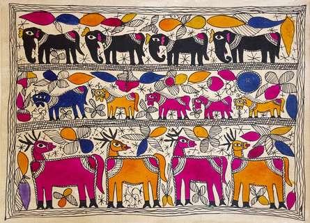 Traditional Indian art title Deer Friends on Handmade Paper - Madhubani Paintings