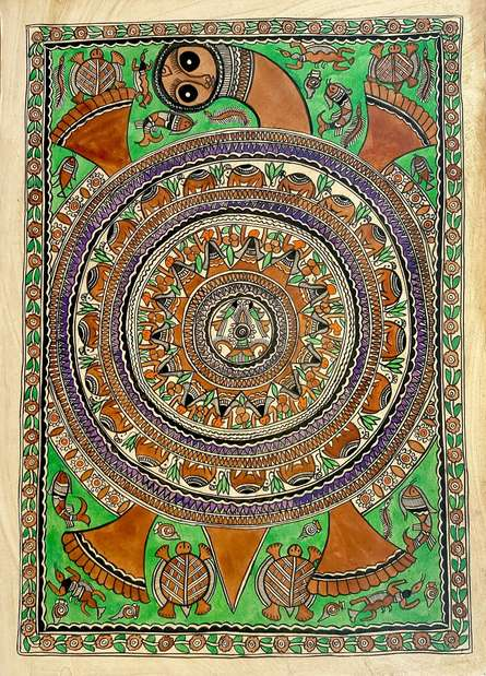 Traditional Indian art title Earth On Tortoise on Handmade Paper - Madhubani Paintings