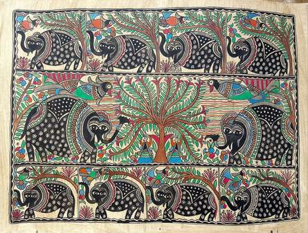 Chano Devi | Madhubani Traditional art title Elephants In The Jungle on Handmade Paper | Artist Chano Devi Gallery | ArtZolo.com