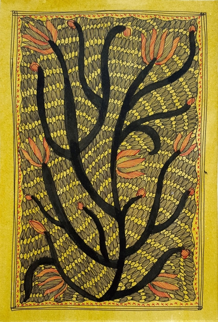 Traditional Indian art title Fireflies on Handmade Paper - Madhubani Paintings