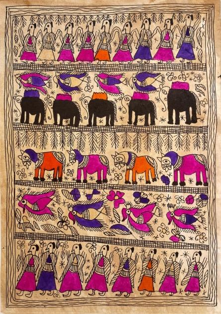 Traditional Indian art title Freedom on Handmade Paper - Madhubani Paintings