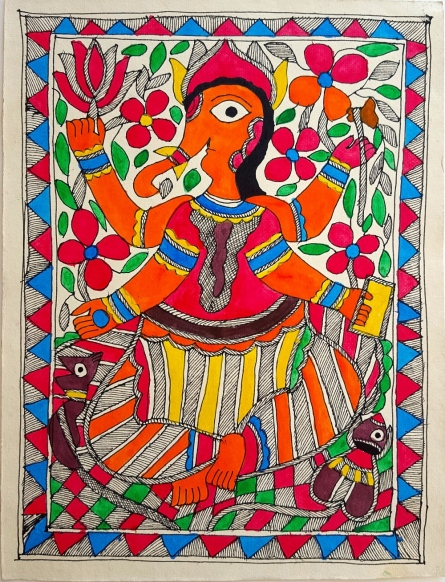 Traditional Indian art title Ganeshas Blessings on Handmade Paper - Madhubani Paintings