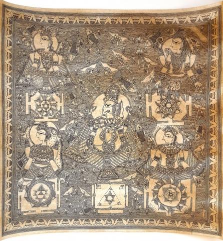 Sanjay Kumar Jayswal | Madhubani Traditional art title Ganpati Panchayat Yantra Yantra Of The on Handmade Paper | Artist Sanjay Kumar Jayswal Gallery | ArtZolo.com