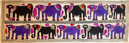 Traditional Indian art title Gentle Giants on Handmade Paper - Madhubani Paintings
