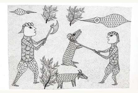 Traditional Indian art title Goat Sacrificing Ritual Gond Art on Paper - Gond Paintings