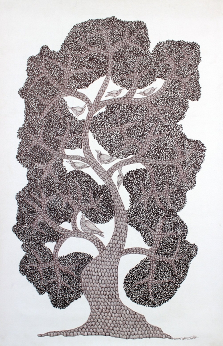 Traditional Indian art title Birds Home Gond Art on Paper - Gond Paintings