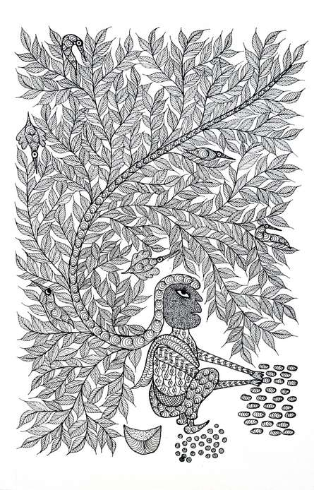 Traditional Indian art title Maiden Making Anklets Gond Art on Paper - Gond Paintings