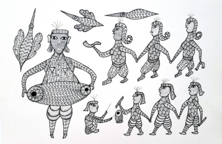 Umaid Singh Patta | Tribal Painting title Saila Dance Performance Gond Art on Handmade Paper | Artist Umaid Singh Patta Gallery | ArtZolo.com