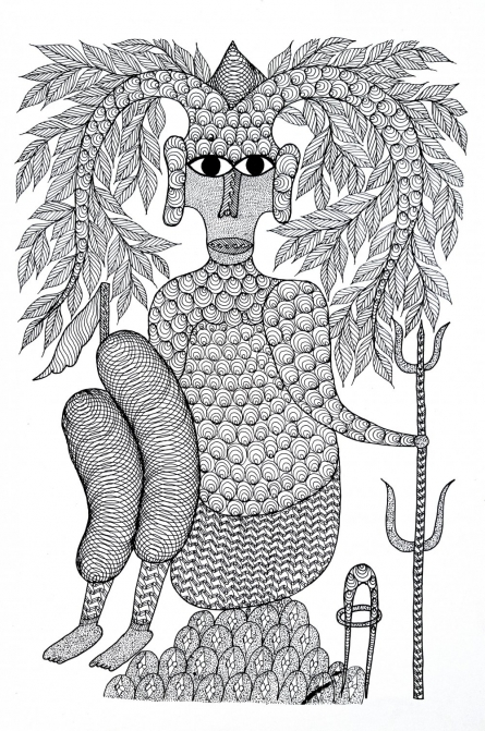 Traditional Indian art title Thakur Dev Baba Creator Of Earth Gond on Paper - Gond Paintings