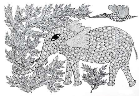 Traditional Indian art title The Elephant Of Good Fortune Gond Art on Paper - Gond Paintings