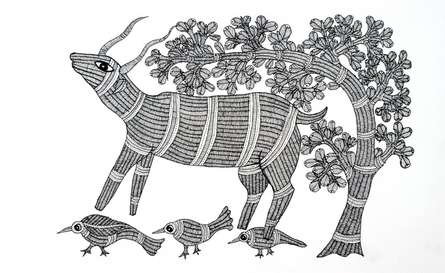 Traditional Indian art title The Scapegoat Gond Art on Paper - Gond Paintings