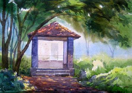 Nature Watercolor Art Painting title 'Landscape 10' by artist Vinayak Potdar