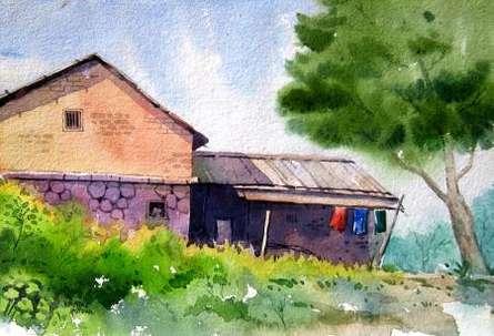 Landscape Watercolor Art Painting title 'Landscape 6' by artist Vinayak Potdar
