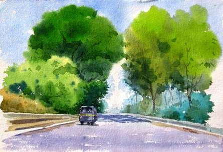 Landscape Watercolor Art Painting title 'Landscape 7' by artist Vinayak Potdar