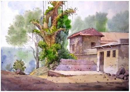 Landscape 8 | Painting by artist Vinayak Potdar | watercolor | Paper